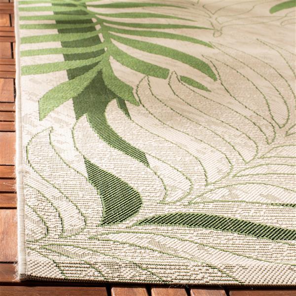Safavieh Courtyard Rug - 2.3' x 10' - Polypropylene - Cream/Green