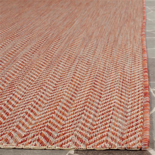 Safavieh Courtyard Rug - 2.3' x 8' - Polypropylene - Red/Beige