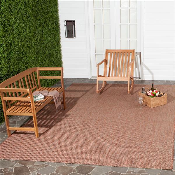Safavieh Courtyard Rug - 5.3' x 7.6' - Polypropylene - Red/Beige