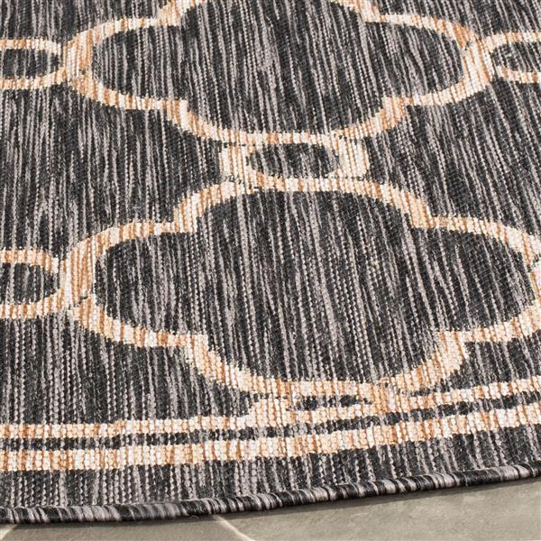 Safavieh Courtyard Rug - 2.6' x 5' - Polypropylene - Natural/Black