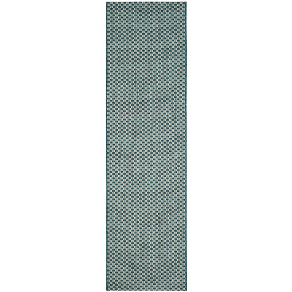 Safavieh Courtyard Rug - 2.3' x 8' - Polypropylene - Turquoise/Gray