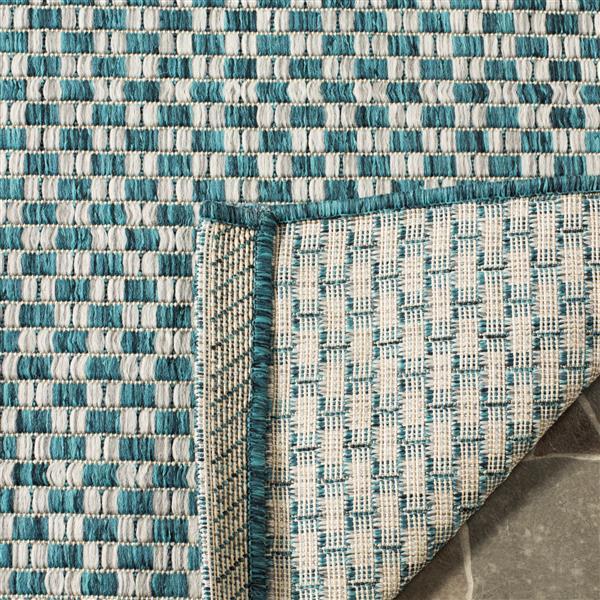 Safavieh Courtyard Rug - 2.6' x 5' - Polypropylene - Turquoise/Gray