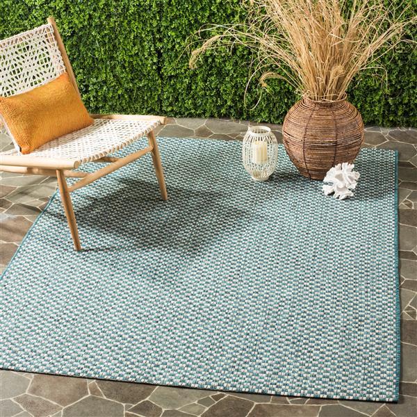 Safavieh Courtyard Rug - 4' x 5.6' - Polypropylene - Turquoise/Gray