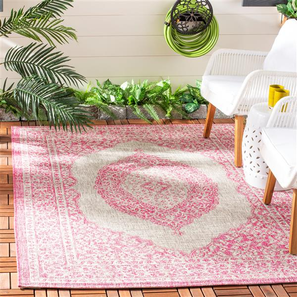 Safavieh Courtyard Rug - 5.3' x 7.6' - Polypropylene - Gray/Fuschia