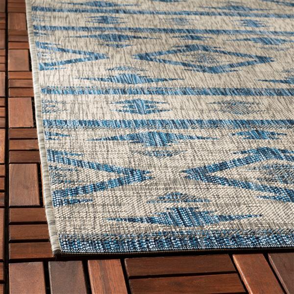 Safavieh Courtyard Rug - 4' x 5.6' - Polypropylene - Gray/Navy Blue