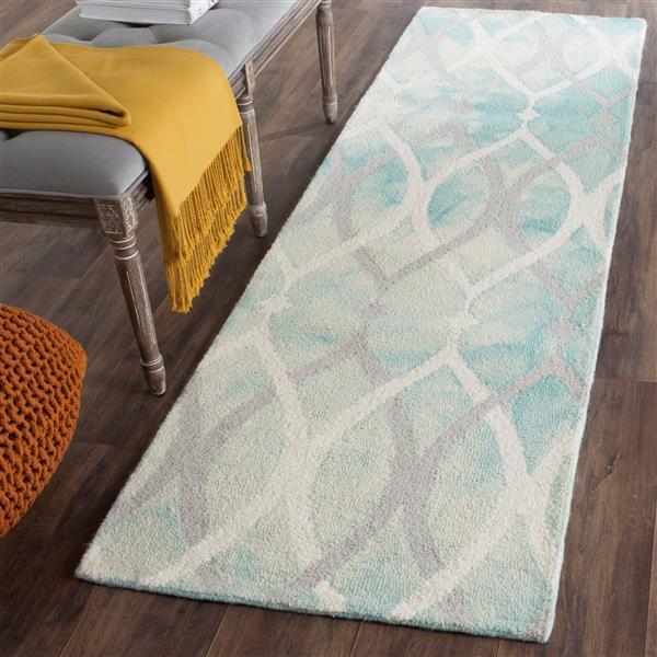 Safavieh Dip Dye Rug - 2.3' x 8' - Wool - Green/Ivory
