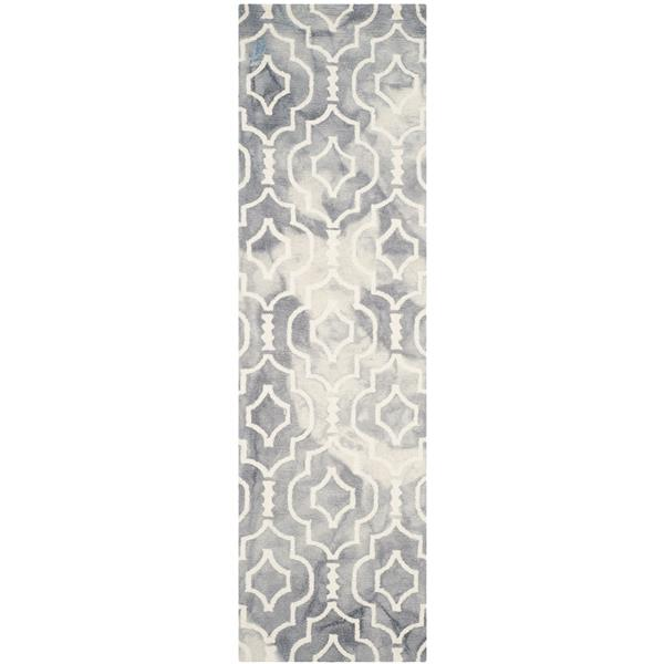 Safavieh Dip Dye Rug - 2.3' x 8' - Wool - Gray/Ivory