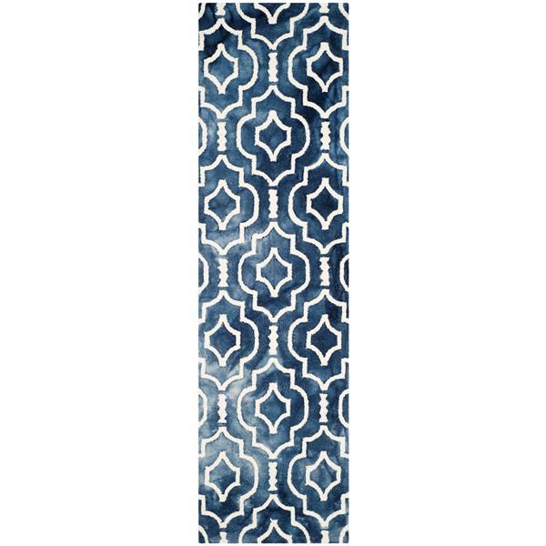 Safavieh Dip Dye Rug - 2.3' x 8' - Wool - Navy Blue/Ivory
