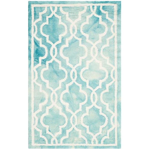 Safavieh Dip Dye Rug - 2.5' x 4' - Wool - Turquoise/Ivory