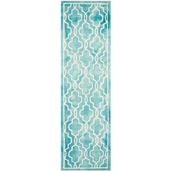 Safavieh Dip Dye Rug - 2.3' x 8' - Wool - Turquoise/Ivory
