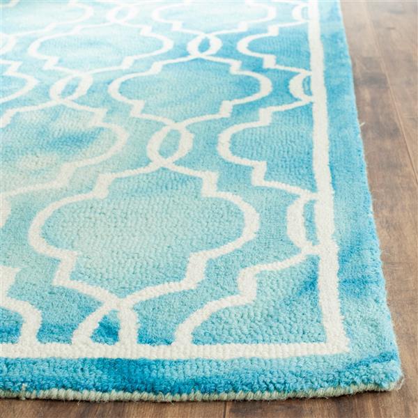 Safavieh Dip Dye Rug - 3' x 5' - Wool - Turquoise/Ivory