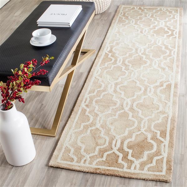 Safavieh Dip Dye Rug - 2.3' x 8' - Wool - Beige/Ivory