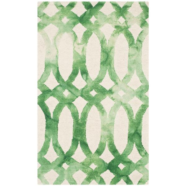 Safavieh Dip Dye Rug - 3' x 5' - Wool - Ivory/Green