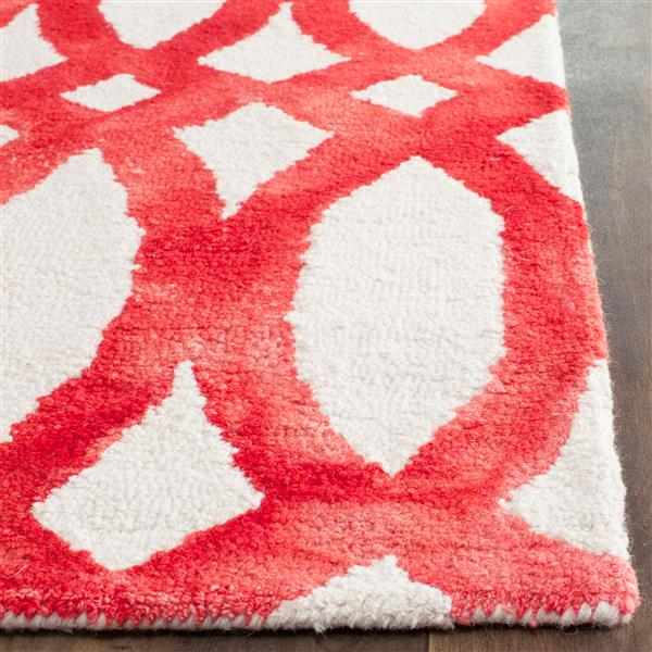 Safavieh Dip Dye Rug - 2.3' x 8' - Wool - Ivory/Red
