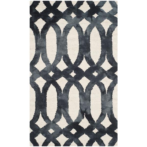 Safavieh Dip Dye Rug - 3' x 5' - Wool - Ivory/Graphite