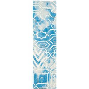 Dip Dye Rug - 2.3' x 8' - Wool - Blue/Ivory