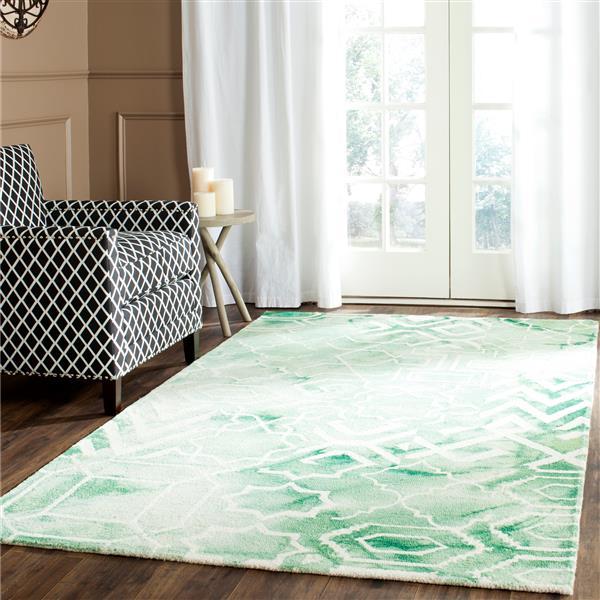 Safavieh Dip Dye Rug - 3' x 5' - Wool - Green/Ivory