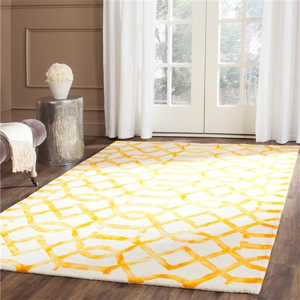 Safavieh Dip Dye Rug - 2' x 3' - Wool - Ivory/Gold
