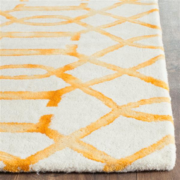 Safavieh Dip Dye Rug - 2.3' x 8' - Wool - Ivory/Gold