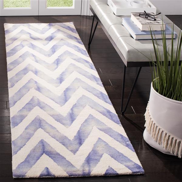 Safavieh Dip Dye Rug - 2.3' x 8' - Wool - Ivory/Blue