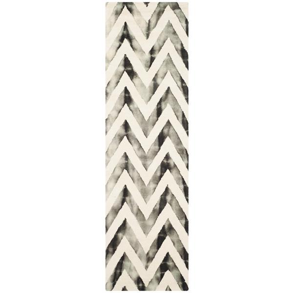 Safavieh Dip Dye Rug - 2.3' x 8' - Wool - Ivory/Charcoal