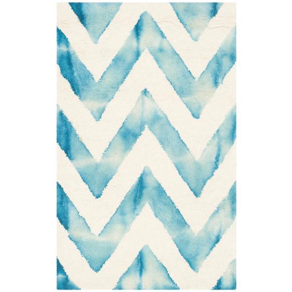 Safavieh Dip Dye Rug - 2' x 3' - Wool - Ivory/Turquoise
