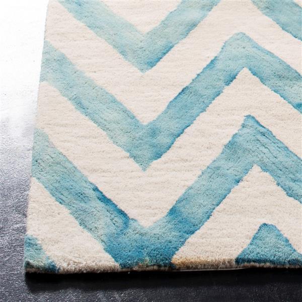 Safavieh Dip Dye Rug - 3' x 5' - Wool - Ivory/Turquoise