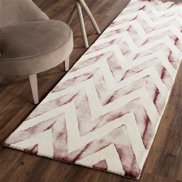 Safavieh Dip Dye Rug - 2.3' x 6' - Wool - Ivory/Maroon