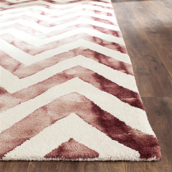 Safavieh Dip Dye Rug - 2.3' x 8' - Wool - Ivory/Maroon