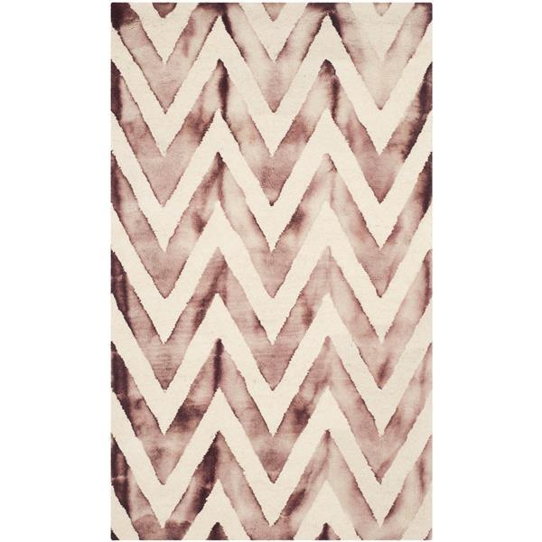 Safavieh Dip Dye Rug - 3' x 5' - Wool - Ivory/Maroon