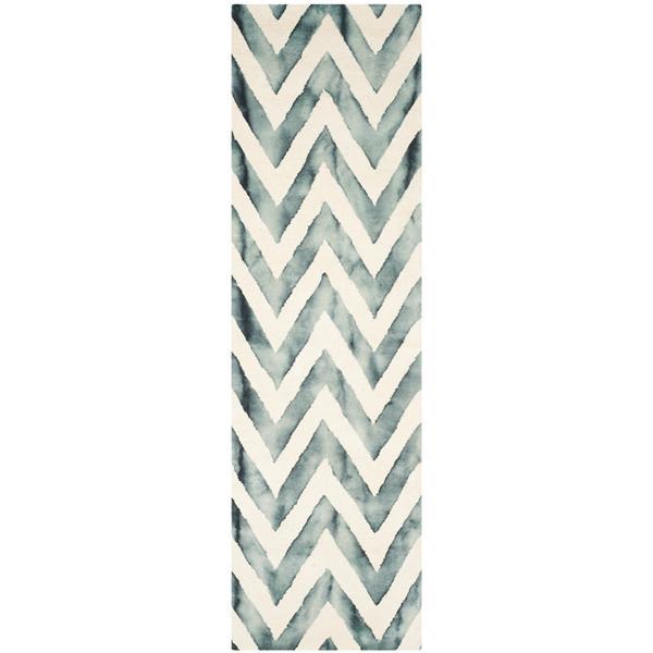 Safavieh Dip Dye Rug - 2.3' x 8' - Wool - Ivory/Gray