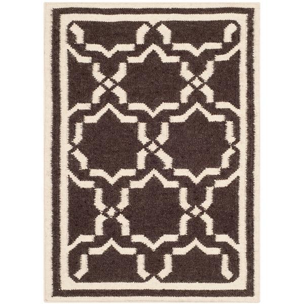 Safavieh Dhurries Rug - 2' x 3' - Wool - Chocolate/Ivory