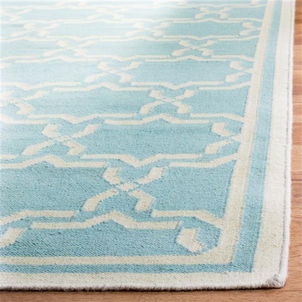 Safavieh Dhurries Rug - 3' x 5' - Wool - Light Blue/Ivory