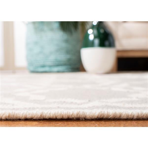 Safavieh Dhurries Rug - 2.5' x 8' - Wool - Gray/Ivory