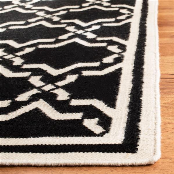 Safavieh Dhurries Rug - 2.5' x 6' - Wool - Black/Ivory