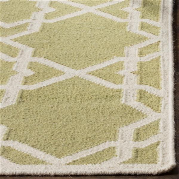 Safavieh Dhurries Rug - 3' x 5' - Wool - Olive/Ivory