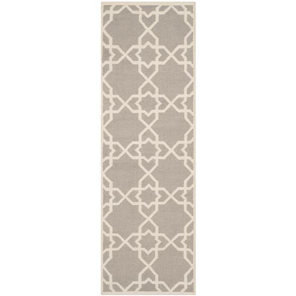 Safavieh Dhurries Rug - 2.5' x 6' - Wool - Gray/Ivory