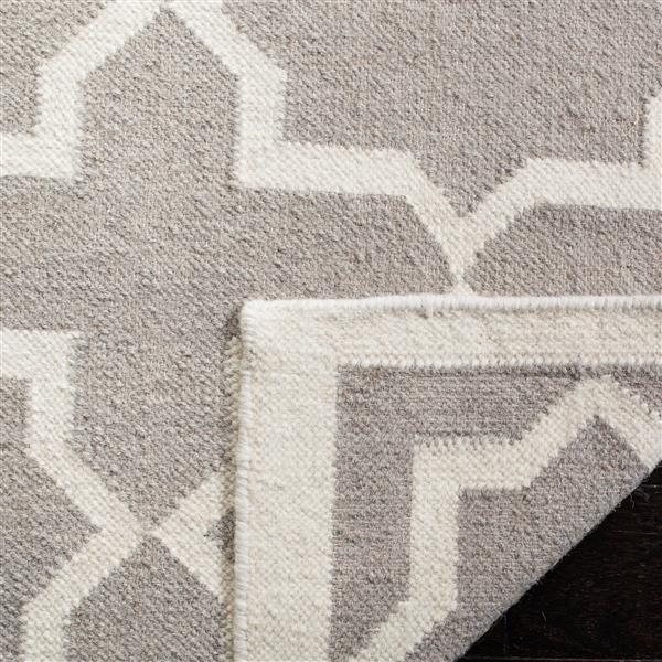 Safavieh Dhurries Rug - 6' x 6' - Wool - Gray/Ivory