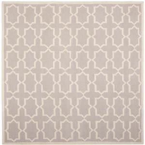 Dhurries Rug - 6' x 6' - Wool - Gray/Ivory