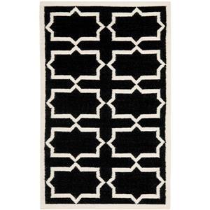Dhurries Rug - 3' x 5' - Wool - Black/Ivory