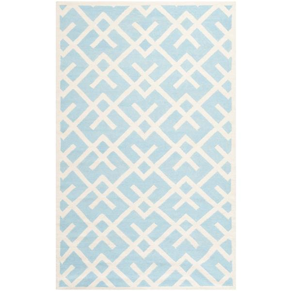Dhurries Rug - 3' x 5' - Wool - Light Blue/Ivory