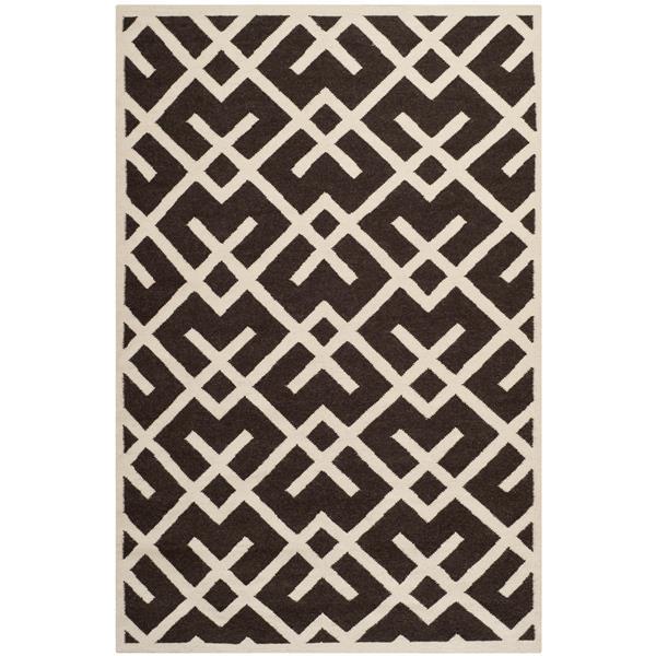 Safavieh Dhurries Rug - 3' x 5' - Wool - Brown/Ivory