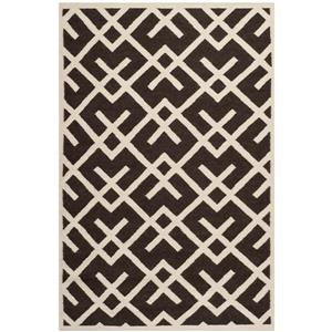 Dhurries Rug - 3' x 5' - Wool - Brown/Ivory