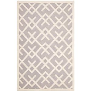 Dhurries Rug - 4' x 6' - Wool - Gray/Ivory