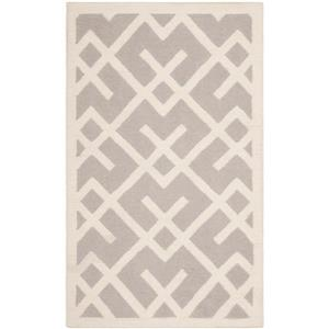 Dhurries Rug - 3' x 5' - Wool - Gray/Ivory