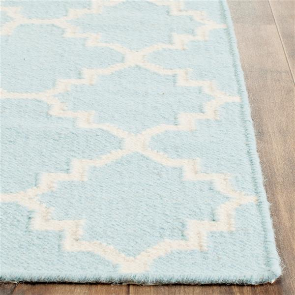 Safavieh Dhurries Rug - 3' x 5' - Wool - Light Blue/Ivory