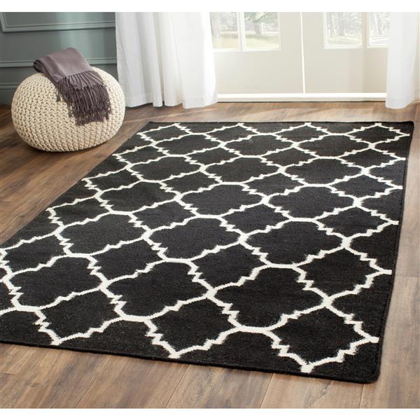Safavieh Dhurries Rug - 2.5' x 4' - Wool - Black/Ivory