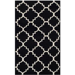 Dhurries Rug - 2.5' x 4' - Wool - Black/Ivory