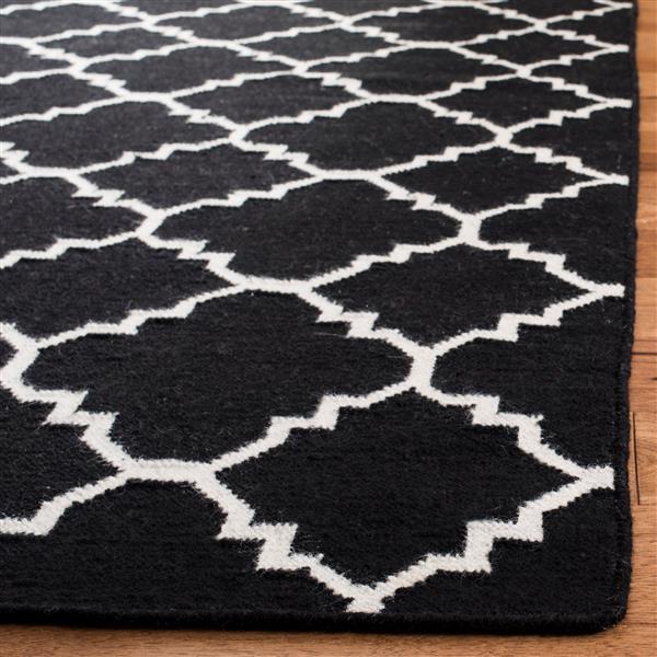 Safavieh Dhurries Rug - 3' x 5' - Wool - Black/Ivory