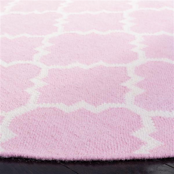 Safavieh Dhurries Rug - 2.5' x 8' - Wool - Pink/Ivory